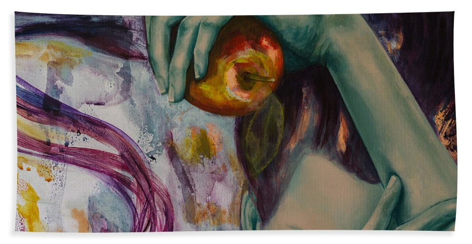 Art Hand Towel featuring the painting Temptation by Dorina Costras