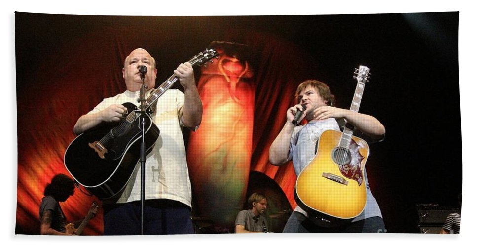 Songwriter Hand Towel featuring the photograph Tenacious D - Kyle Gas And Jack Black by Concert Photos