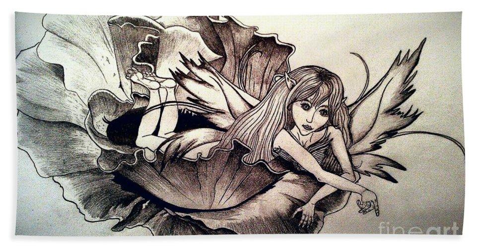 Hand Towel featuring the drawing Tender Beginnings 2 by Laurrie Lloyd
