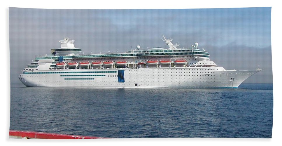 Cruise Hand Towel featuring the photograph Tendered Ship by Scenic Sights By Tara