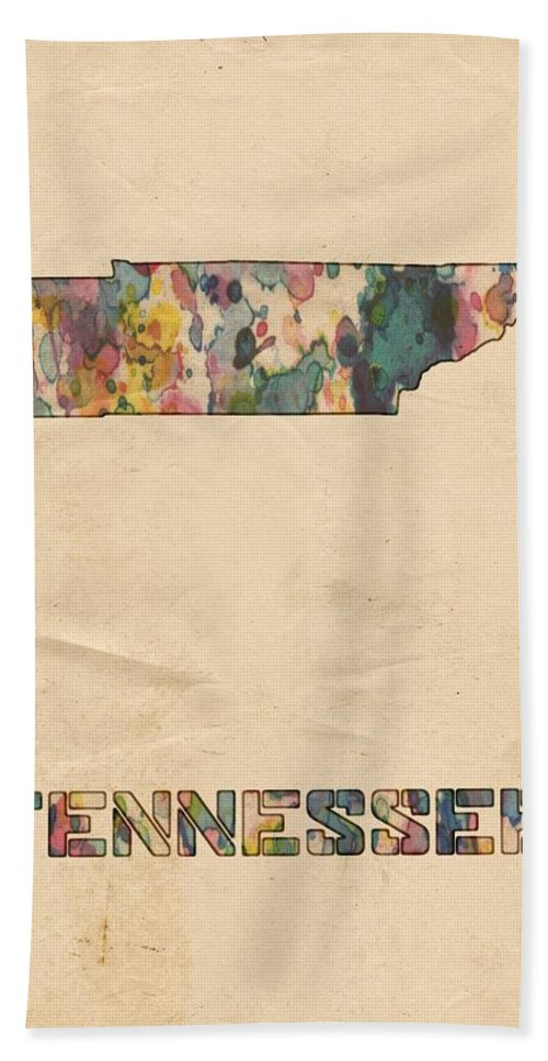 Tennessee Bath Sheet featuring the painting Tennessee Map Vintage Watercolor by Florian Rodarte