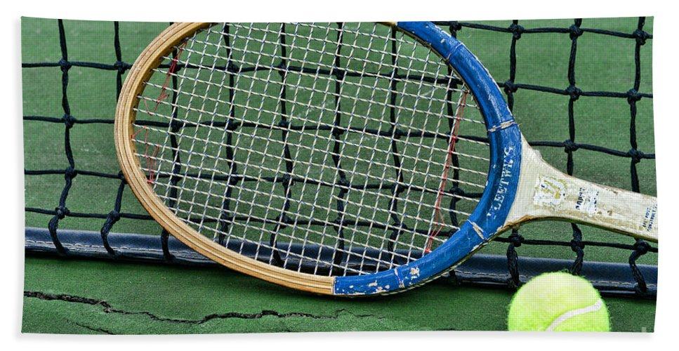 Paul Ward Hand Towel featuring the photograph Tennis - Vintage Tennis Racquet by Paul Ward
