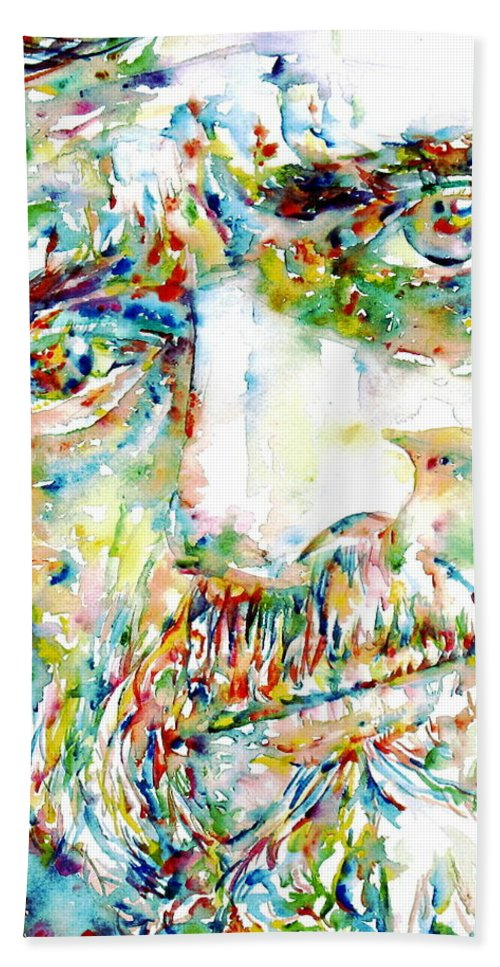 Terence Mckenna Hand Towel featuring the painting Terence Mckenna Watercolor Portrait.1 by Fabrizio Cassetta