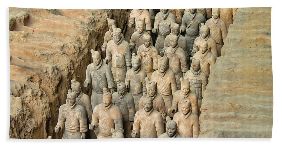 Travel Hand Towel featuring the photograph Terra Cotta Warriors by David Gleeson
