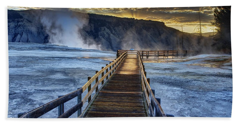Yellowstone National Park Hand Towel featuring the photograph Terrace Boardwalk by Mark Kiver