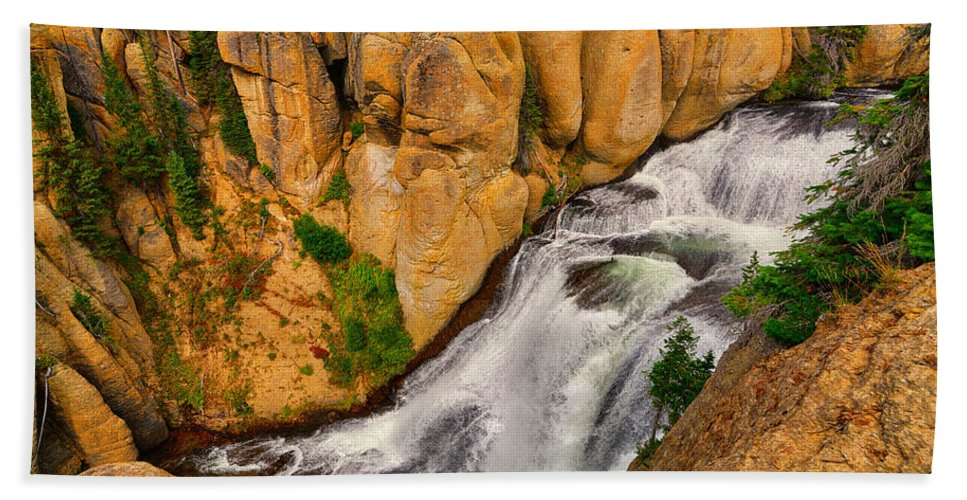 Terraced Falls Bath Sheet featuring the photograph Terraced Falls by Greg Norrell