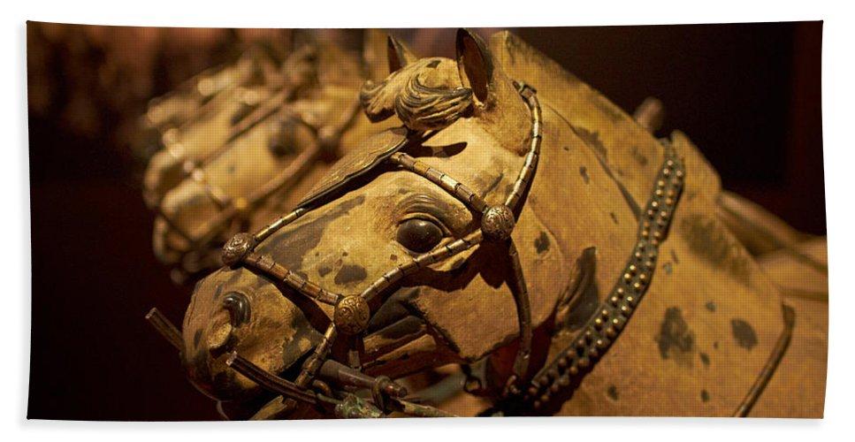 Lehto Bath Sheet featuring the photograph Terracotta Horses by Jouko Lehto