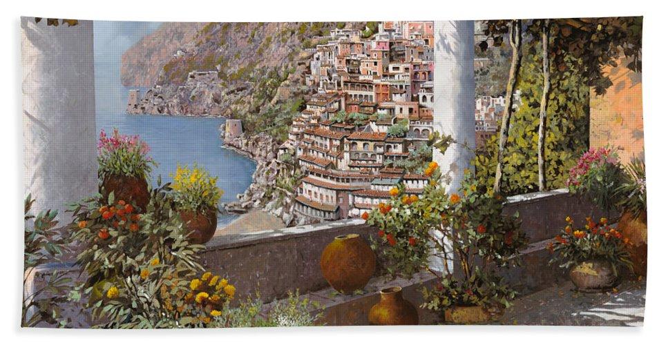Positano Bath Towel featuring the painting terrazza a Positano by Guido Borelli