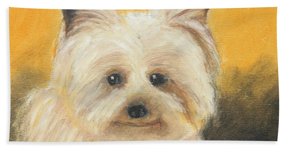Mammal Hand Towel featuring the painting Terrier by Jeanne Fischer