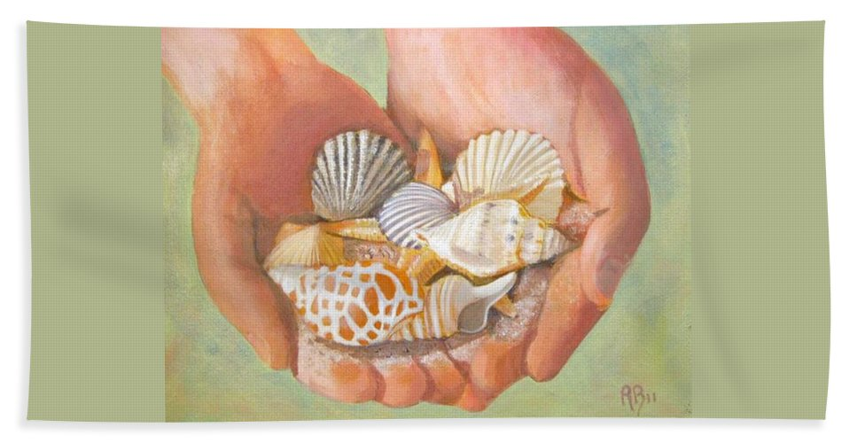 Seashells Bath Sheet featuring the painting Tesori Del Mare - Treasures Of The Sea by Robie Benve