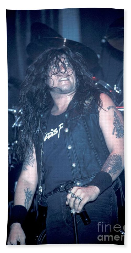 Chuck Billy Hand Towel featuring the photograph Testament - Chuck Billy by Concert Photos