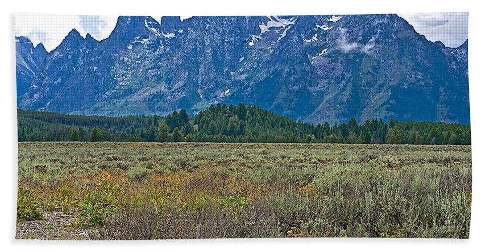 Teton Peaks And Flatland Near Jenny Lake In Grand Teton National Park Hand Towel featuring the photograph Teton Peaks And Flatland Near Jenny Lake In Grand Teton National Park-wyoming by Ruth Hager