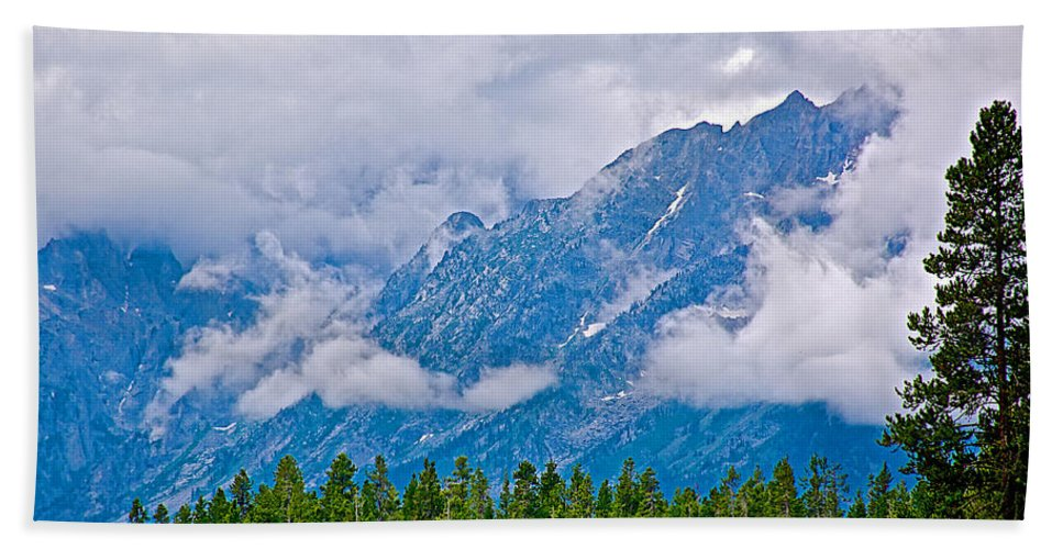 Teton Peaks Through Clouds In Grand Teton National Park Hand Towel featuring the photograph Teton Peaks Through Clouds In Grand Teton National Park-wyoming  by Ruth Hager