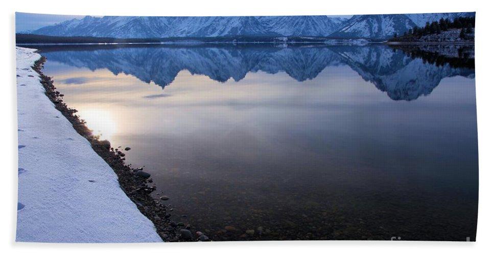 Grand Teton Bath Sheet featuring the photograph Teton Reflections by Adam Jewell