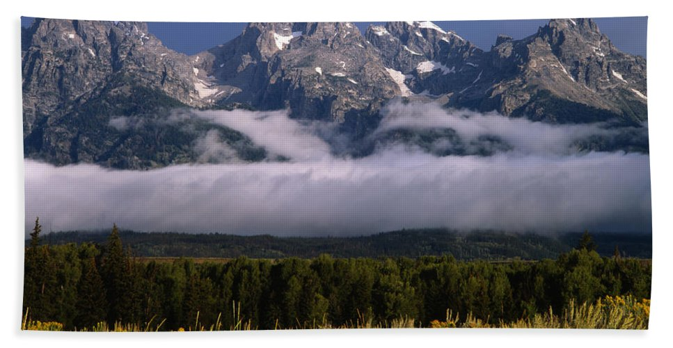 Fog Bank Bath Sheet featuring the photograph 1m9396-tetons Above Fog, Wy by Ed Cooper Photography