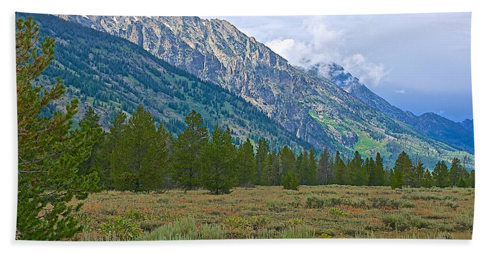 Tetons Above The Meadow In Grand Teton National Park Hand Towel featuring the photograph Tetons Above The Meadow In Grand Teton National Park-wyoming by Ruth Hager