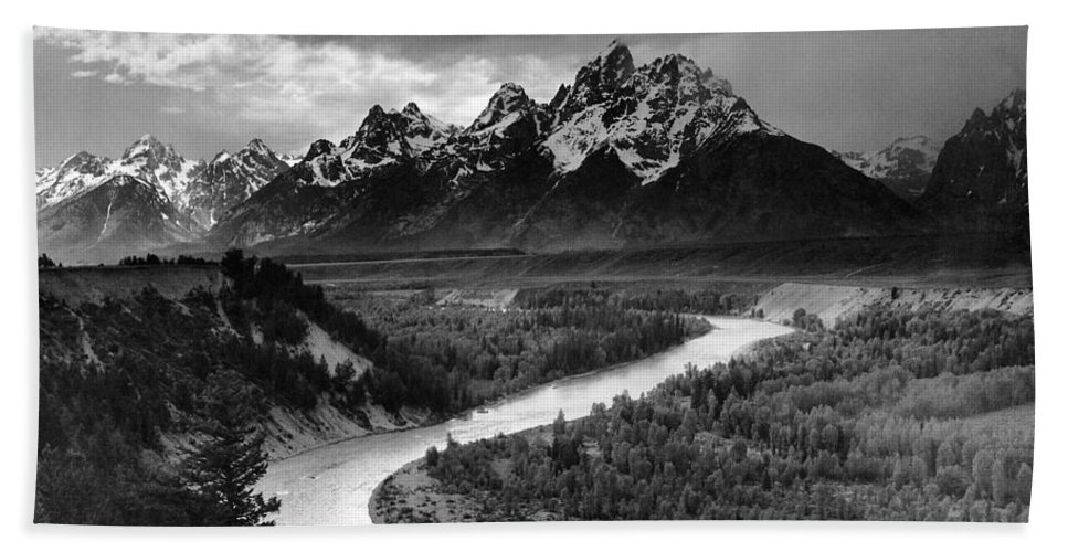 Tetons And The Snake River Hand Towel featuring the digital art Tetons And The Snake River by Ansel Adams