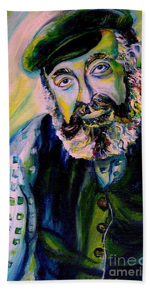 Tevye Fiddler On The Roof Bath Sheet featuring the painting Tevye Fiddler On The Roof by Carole Spandau