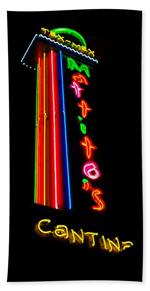 Cantina Neon Hand Towel featuring the photograph Tex Mex Cantina Neon by Pamela Smale Williams