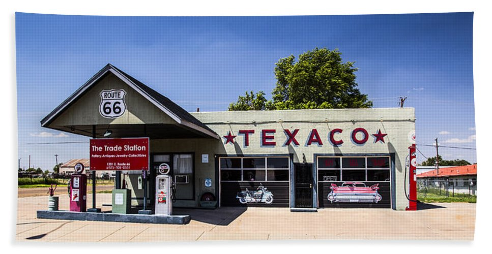 Route 66 Hand Towel featuring the photograph Texaco Nm by Angus Hooper Iii