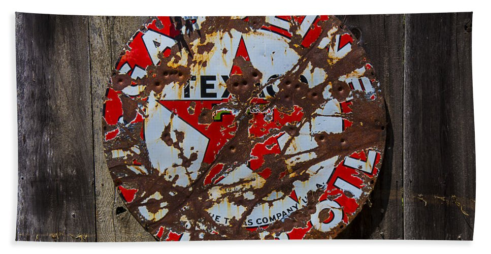Texaco Round Bath Sheet featuring the photograph Texaco Sign by Garry Gay