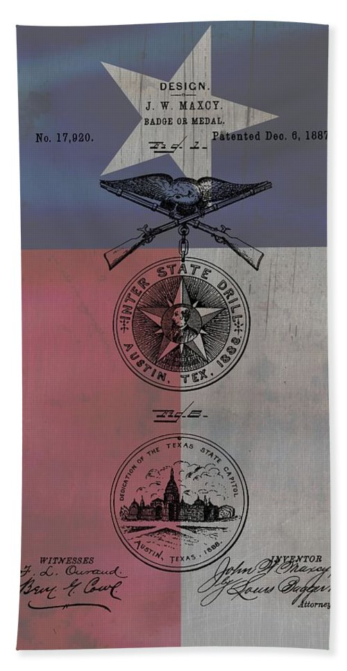 Texas Badge Patent On Texas Flag Bath Sheet featuring the drawing Texas Badge Patent On Texas Flag by Dan Sproul