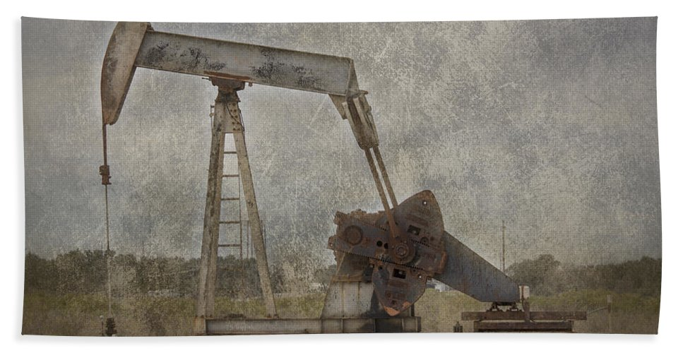 Pump Jack Bath Sheet featuring the photograph Texas Black Gold by TN Fairey
