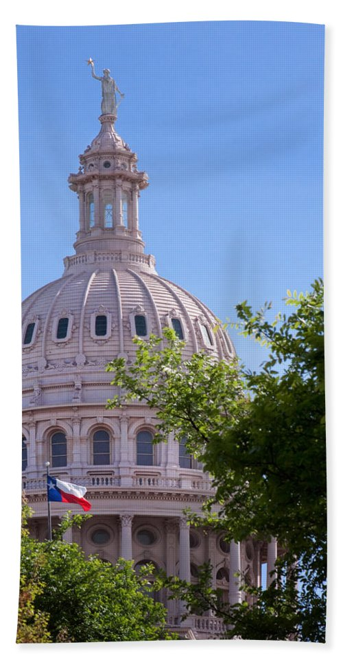 Architecture Hand Towel featuring the photograph Texas Capital Dome by David and Carol Kelly
