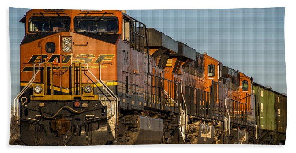 Bnsf Bath Sheet featuring the photograph Texas Freight by Rob Hawkins