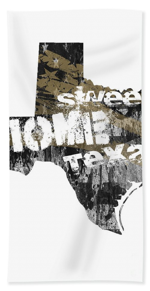 Texas Hand Towel featuring the digital art Texas Map Cool by Voros Edit