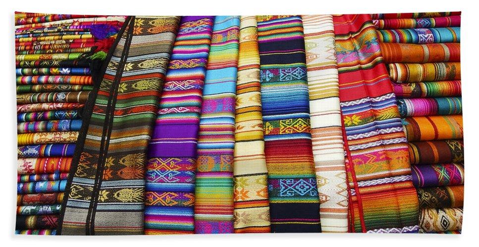 Textile Bath Sheet featuring the photograph Textile Market Otavalo Ecuador by Kurt Van Wagner
