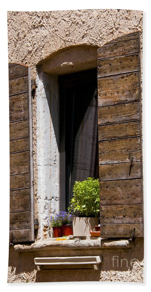 Bonnieux France Window Windows Shutter Textured Shutters Texture Textures Potted Plant Plants Cityscape Cityscapes Provence Architecture Bath Sheet featuring the photograph Textured Shutters by Bob Phillips