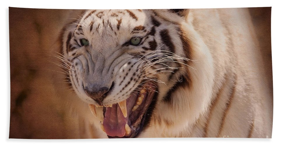 Animal Hand Towel featuring the photograph Textured Tiger by Janice Pariza