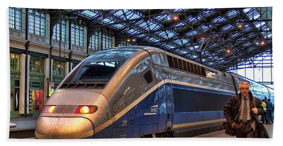 Bath Sheet featuring the photograph Tgv At The Train Station by Paris France