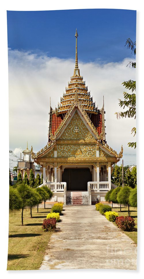 Ancient Bath Sheet featuring the photograph Thailand Temple by Sophie McAulay