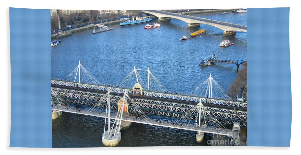 London Hand Towel featuring the photograph Thames River Traffic by Ann Horn
