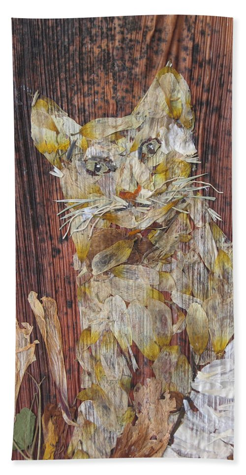 Cat.bandage On One Leg Bath Sheet featuring the mixed media Thanks From Eyes For Bandage On Broken Leg. by Basant Soni