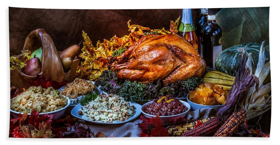Thanksgiving Hand Towel featuring the photograph Thanksgiving Dinner by Mike Penney