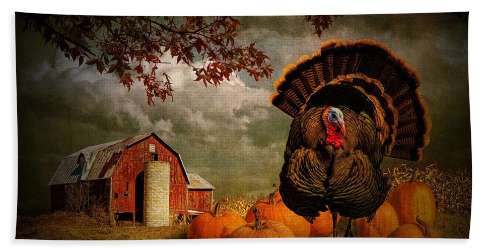 Feather Bath Sheet featuring the photograph Thanksgiving Turkey Among Pumkins by Randall Nyhof