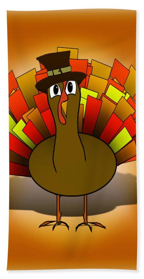 Turkey Bath Sheet featuring the digital art Thanksgiving Turkey Pilgrim by Gravityx9  Designs