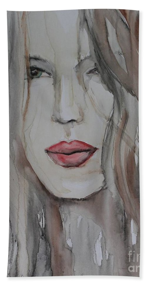 Noewi Bath Sheet featuring the painting That Lips by Jindra Noewi