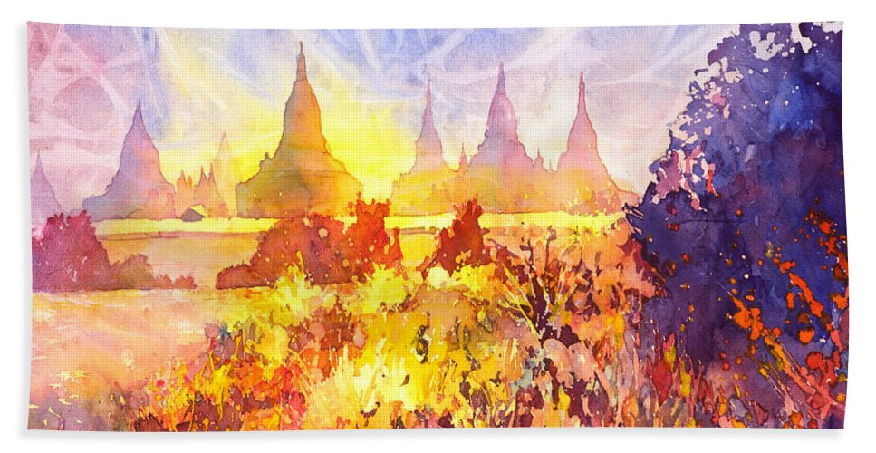 Myanmar Hand Towel featuring the painting That Ruined Feeling by Ryan Fox