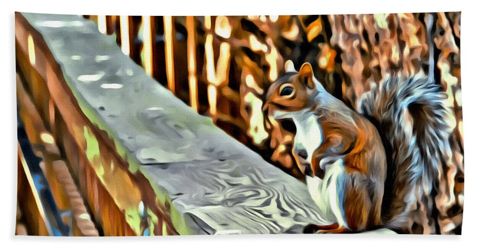 Squirrel Portrait Deck Bath Sheet featuring the photograph That Squirrel by Alice Gipson