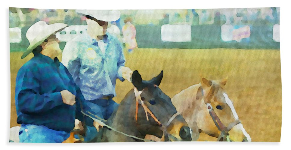 Cowboys Bath Sheet featuring the photograph That Was A Good Steer by Alice Gipson
