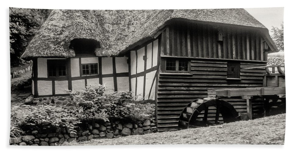 Thatched Watermill Kaleko Denmark Structure Structures Building Building Architecture Watermills Mill Mills Black And White Sepia Hand Towel featuring the photograph Thatched Watermill 3 by Bob Phillips