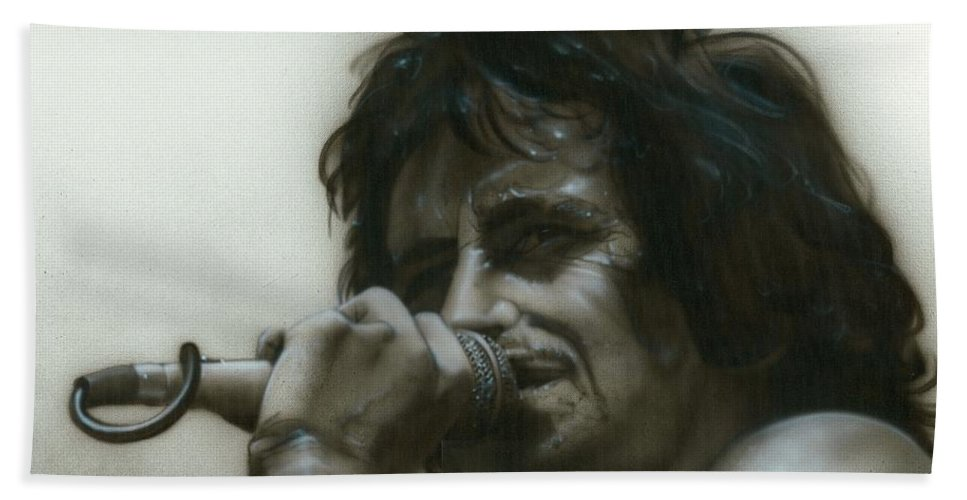 People Bath Sheet featuring the painting That's How It Goes Playing In A Band by Christian Chapman Art