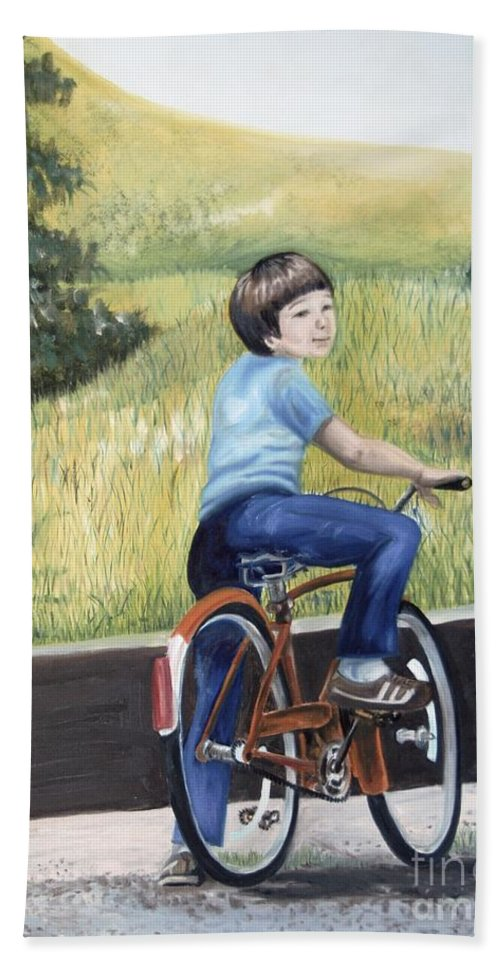 Oil Painting Bath Sheet featuring the painting That's My Boy by Lynda Coon