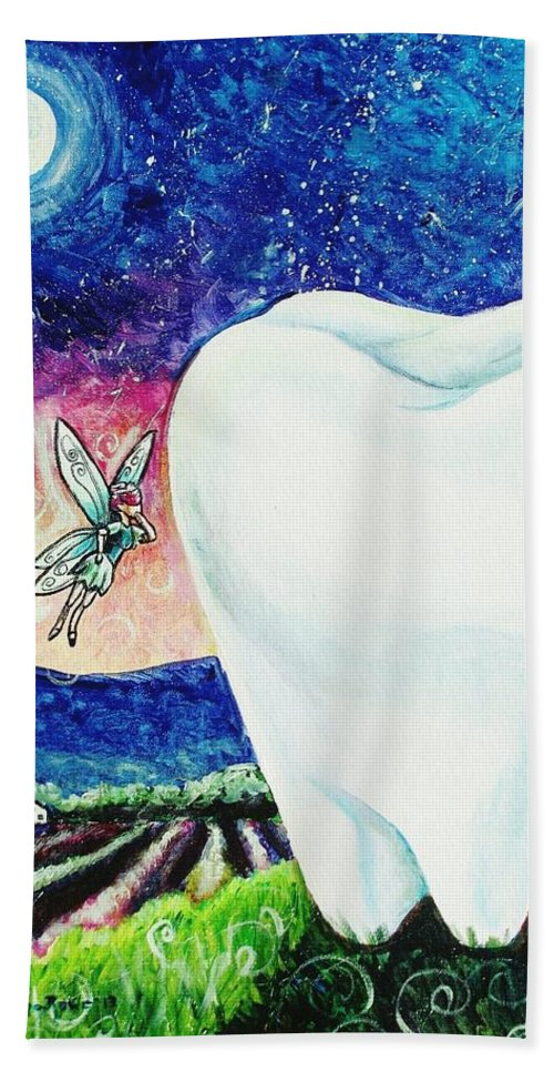 Fairy Bath Sheet featuring the painting That's No Baby Tooth by Shana Rowe Jackson