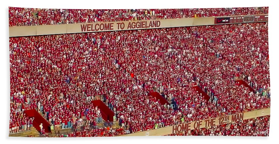 Texas A&m University Hand Towel featuring the photograph The 12th Man by Gary Holmes