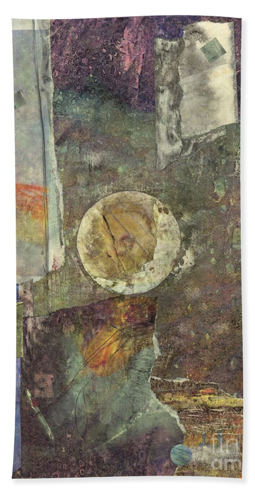 Collage Hand Towel featuring the mixed media The Abyss by Vicki Baun Barry